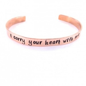 i carry your heart with me Copper Hand Stamped Cuff Bracelet