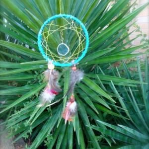 Blue Dream Catcher Home Decor, Handmade Wall Hanging Ornament, One of a Kind OOAK, USA made, Ready to Ship
