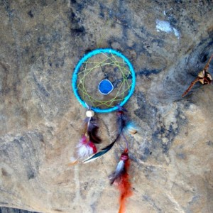 Blue Dream Catcher Home Decor, Handmade Wall Hanging Ornament, One of a Kind OOAK, USA made, Ready to Ship