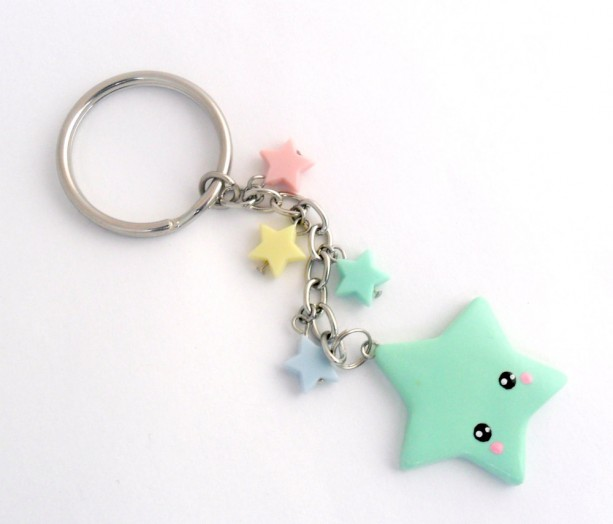 Kawaii shooting star keychain lolita fairy kei cute - Idee de pate fimo ...