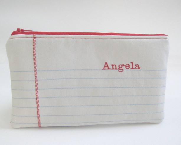 Lined Paper Pouch Teacher Gift Notebook Paper Pouch Zippered Pouch Personalized Teacher Pencil Bag Pencil Bag