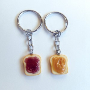 Peanut Butter and Jelly Keychain Set, Grape, Best Friend's Keychains, Cute :D