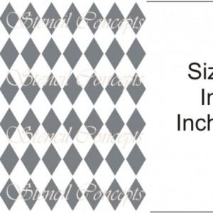 Sharp Harlequin Diamonds Seamless Decorative Stencil MULTIPLE SIZES AVAILABLE on Industry Standard 12 Mil Mylar Design 105855599