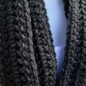 INFINITY SCARF Loop Cowl, Solid Charcoal Grey Gray Extra Soft Long Narrow Crochet Knit Winter Skinny..Ready to Ship in 2 Days