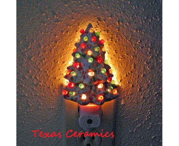 Ceramic Christmas Tree Night In Red Green & White With