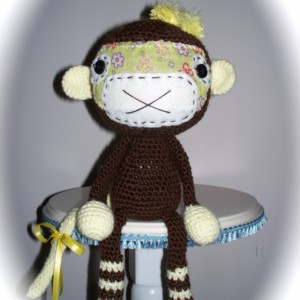 amigurumi monkey, stuffed monkey, brown monkey,toy monkey, crochet monkey