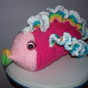 amigurumi fish, fish, stuffed fish, crochet fish, tropical fish, tropical fish toy, hot pink toy, stuffed animal