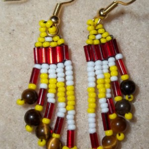 Yellow Brick Stitch TIger Eye Dangle Earrings,  Handmade, Gourd stitch, Primary Colors, Native American Inspired