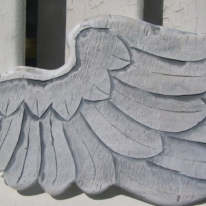 Wood Carved Baby Angel Wings White/Grey with Pearl Sheen  Wall Hanging 19x9 Each