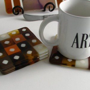 Squares Fused Glass Coasters in Warm Amber 0049