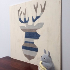 Rustic Deer Head Wood Wall Art Deer Silhouette  Antlers Art Buck Painting Woodland Decor Distressed Sign Gray Home Decor Nature Art Elk