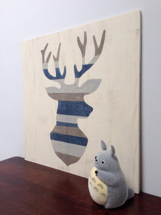 ... Rustic Deer Head Wood Wall Art Deer Silhouette Antlers Art Buck  Painting Woodland Decor Distressed Sign ...