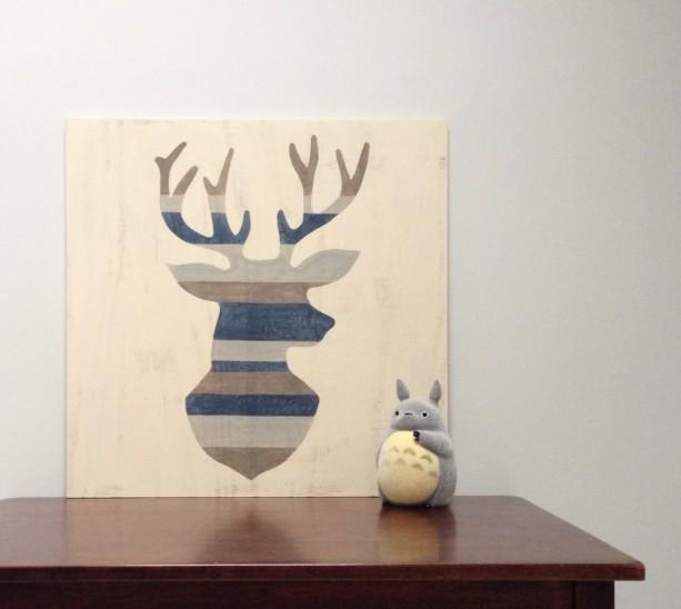 Rustic Deer Head Wood Wall Art Deer Silhouette Antlers Art