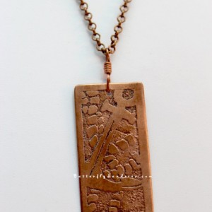 Copper Anchor Pendant on Copper Chain- Etched Pendant - Sirens and Sailors Collection
