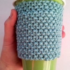 Knit travel mug cozy, non slip cozy, coffee mug cozy, coffee cup cozy, knit cozy, seafoam green, sea foam green, coffee mug sleeve