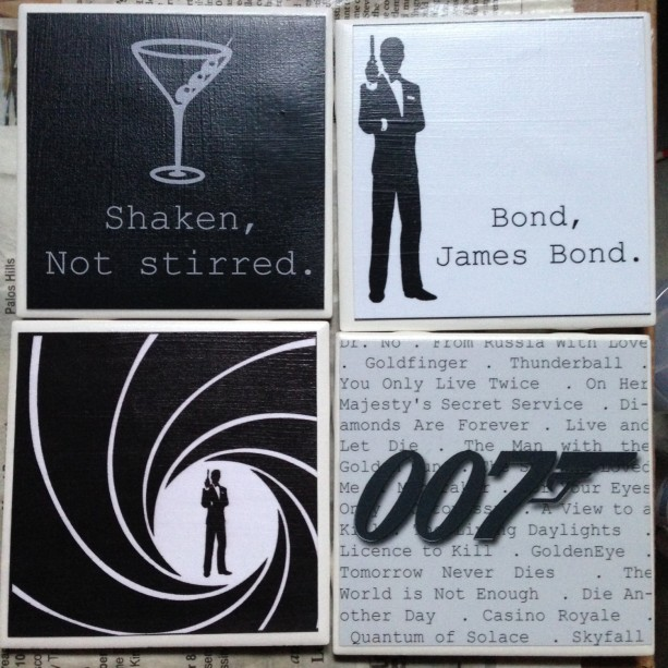 JAMES BOND Set of 4 Coasters Quotes Movie Titles Logo