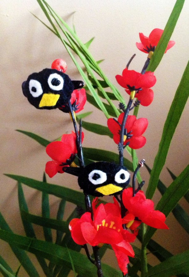 Barrette Set #001: Frog / Penguin / Yellow Thing