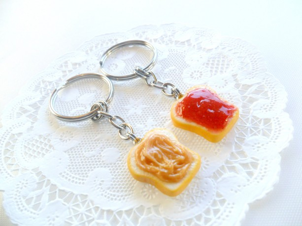 Peanut Butter and Jelly Keychain Set, Strawberry, Best Friend's Keychains, Cute :D
