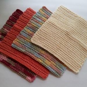 Crochet dish cloth, set of 4 wash cloths, multi color wipes, reusable cloths, reusable dish cloth, yellow tangerine orange,multicolor cloths