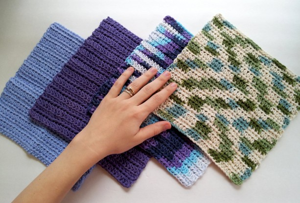 Crochet dish cloth, set of 4 wash cloths, multi color wipes, reusable cloths, reusable dish cloth, multicolor cloths, blue and green colors