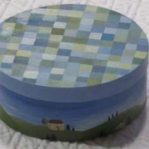 Hand Painted Folk Art Small Oval Box