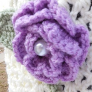 Soft Cream Scarf with Purple and Pink Flowers and Soft Green Leaves