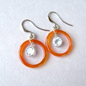 Blue Topaz Earrings, Red Agate, Sterling Silver, Gemstone Jewelry, Sterling Silver, Rhodium, Sky Blue, Red Orange, Pale Blue, Powder Blue