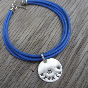 Custom leather bracelet with hand stamped 3/4 inch round charm pick your color and wording