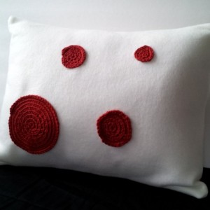 Crochet applique pillow, applique pillow fleece pillow with crochet circles, soft fleece pillow, nursery pillow, white and red pillow