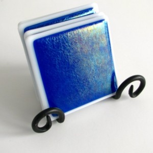 Blue Iridized Fused Glass Coasters , Home Decor Housewares