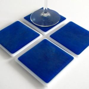 Blue Iridized Fused Glass Coasters , Home Decor Housewares