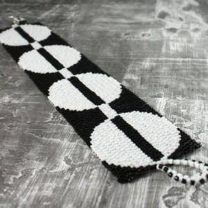 Modern Circles // Beaded Cuff // Black and White // Bracelet