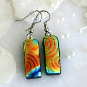 Satin Rainbow Swirls Earrings Dichroic Fused Glass Necklace Jewelry 0101