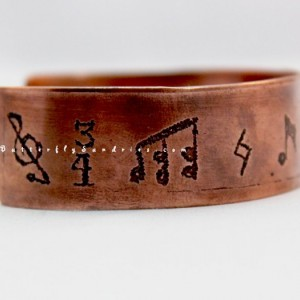 OOAK Musical Notation Etched Copper Adjustable Cuff Bracelet
