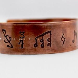 OOAK Musical Notation Etched Copper Adjustable Cuff Bracelet