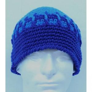 Handmade Blue Stripe Beanie , Blue Beanie , Man / Woman / Teen Beanie  b101
