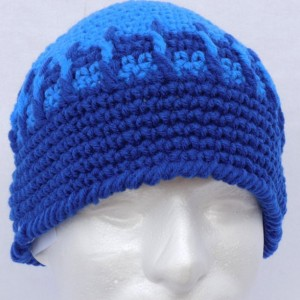 Handmade Blue Stripe Beanie , Blue Beanie , Man / Woman / Teen Beanie  b101