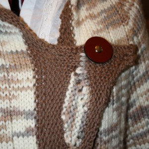 Hand knit Asymmetrical Shawl Collar Sweater with Leather JUL buttons