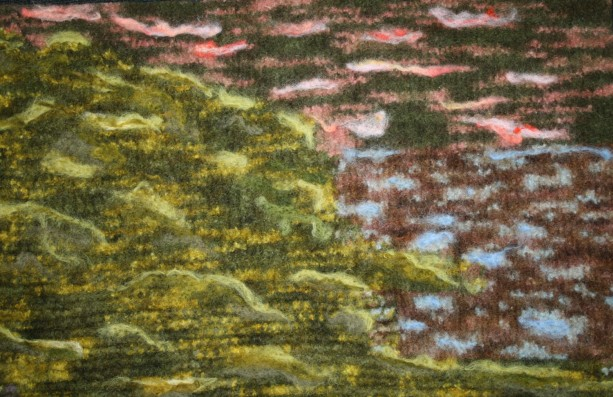 "Felted Abstract ""Sunset at the Lake"" all in wool!"