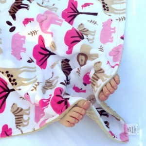 Minky Baby Blanket,  Jungle Zoo Baby Girl Blanket, Elephant Monkey Giraffe Minky Baby Blanket