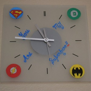 Superhero Logo Wall Clock - Valentine's Day Gifts For Him -  Justice League - Geek - Superman Batman Flash Green Lantern