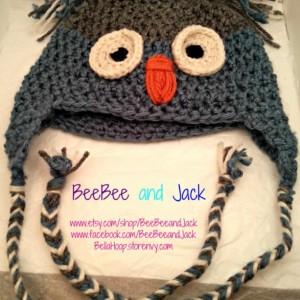 Crochet owl hat- Children's Size