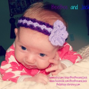 Crochet headband- Crochet flower headband- Butterfly headband