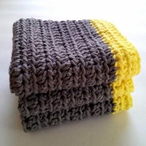 Crochet dish cloths, set of 3,  wash cloths, gray with yellow border, reusable cloths, reusable green living dish cloths, cloth wipes
