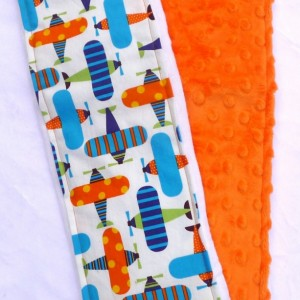 Burp Cloth - Cloth Nappy - Minky Burp Cloth - Airplane Burp Rags - Diaper Burp Cloths - Orange Minky Burp Cloth Set