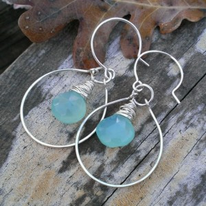 Wonky Wrapped Earrings in Large Hoop - Mystic Blue-Green Chalcedony
