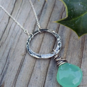As Seen on The Vampire Diaries - Wonky Wrapped Necklace - Green Chalcedony