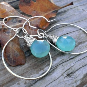 Wonky Wrapped Earrings in Large Hoop - Mystic Blue-Green Chalcedony