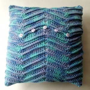 Crochet pillow, 14x14 square pillow, home accent pillow, multi-color yarn, removable pillow cover, blue, lavender, light green