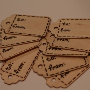 """set of 10 real wooden gift tags with wood burning lettering """"to"""" & """"from"""" FREE SHIPPING"""